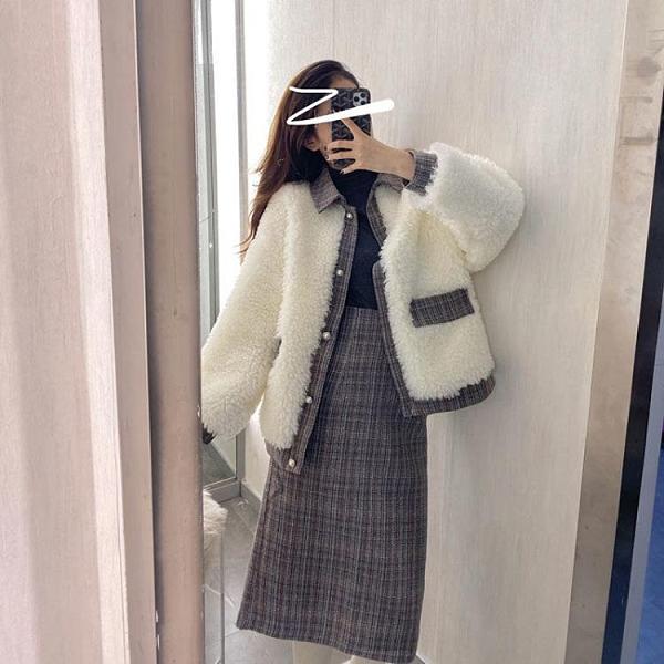 秋冬季新款韓版小香風套裝羊羔毛外套高腰半身裙洋氣兩件套女學生【快速出貨】