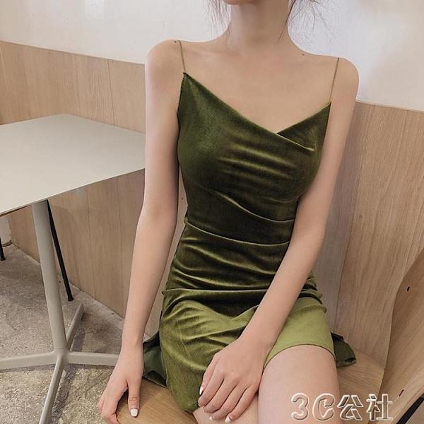 內搭洋裝 女裝時尚新款性感V領細肩帶絲絨吊帶裙純色修身包臀洋裝短裙 快速出貨