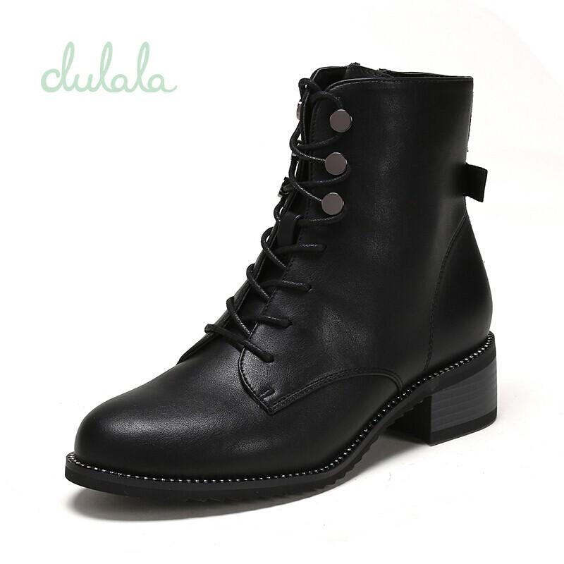 (重)¥精品下殺¥達芙妮旗下鞋柜杜拉拉系列女靴 純色皺面低筒低跟系帶短靴女短靴