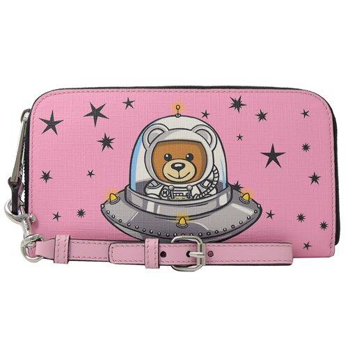 MOSCHINO 專櫃商品 2T8142 太空系列星星泰迪熊手提式拉鍊長夾.粉