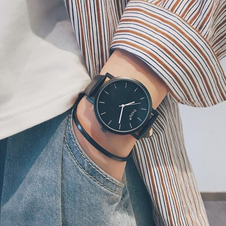 韓國ulzzang青少年手錶男中學生韓版簡約潮流休閒皮帶個性潮男錶 雙十二全館85折