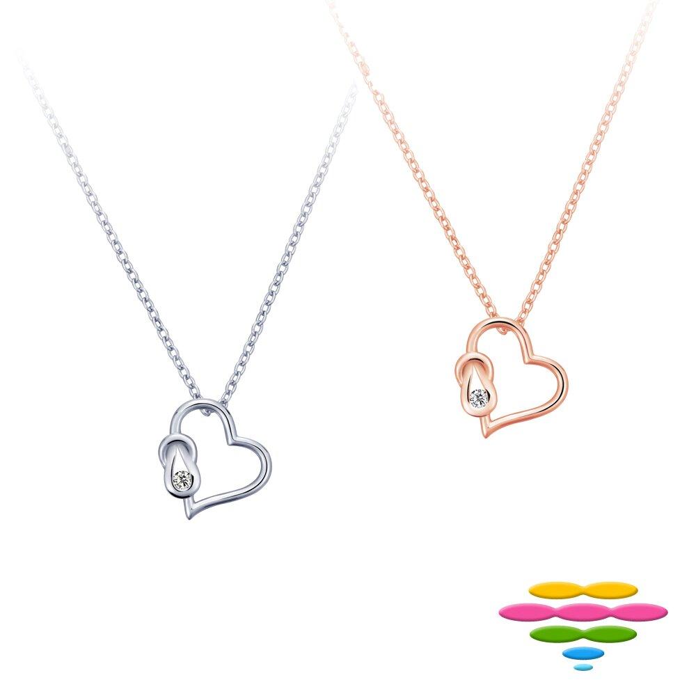 Caramelo 彩糖鑽工坊 14K 愛心鑽石項鍊 K白&玫瑰金 (2選1)