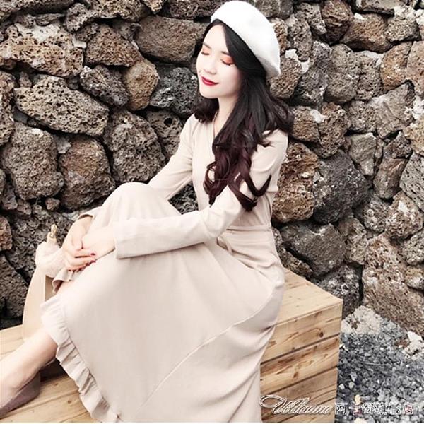 洋裝春秋新款女裝V領洋裝女修身收腰木耳邊A字氣質顯瘦打底中長裙子 阿卡娜