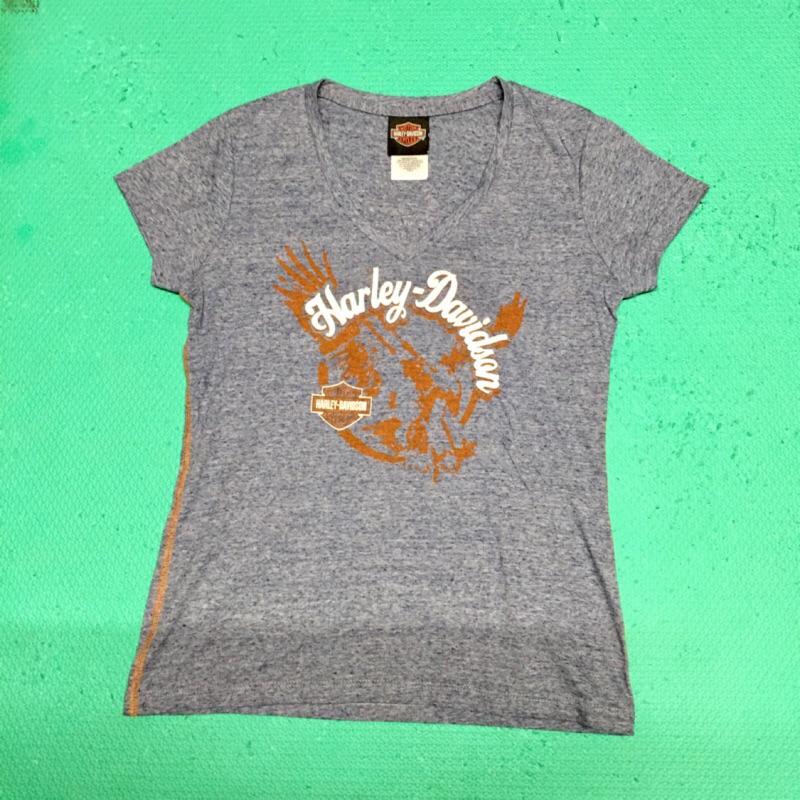 motor harley davidson cycles 短袖 藍色 V領 T恤