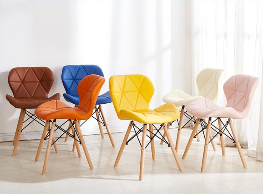 北歐實木餐椅現代簡約化妝椅創意矮背椅休閑家用靠背椅伊姆斯椅子