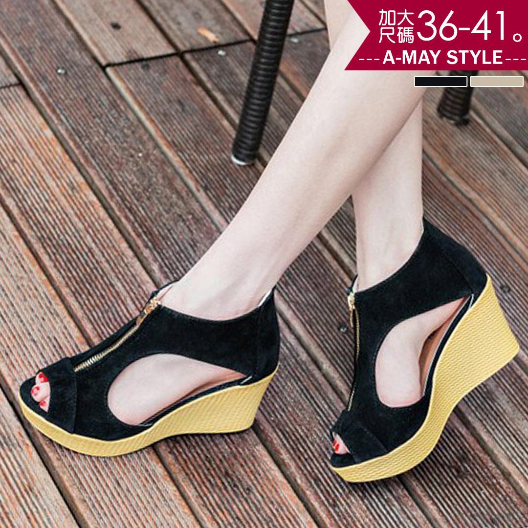 現貨涼鞋-魚口拉鍊側鏤空楔型涼鞋(36-41加大碼)【XTE58832】*艾美時尚