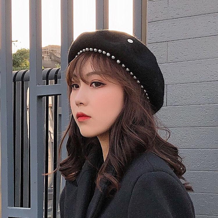 小香風貝雷帽女秋冬韓版日系羊毛呢珍珠蓓蕾帽八角英倫畫家帽子潮