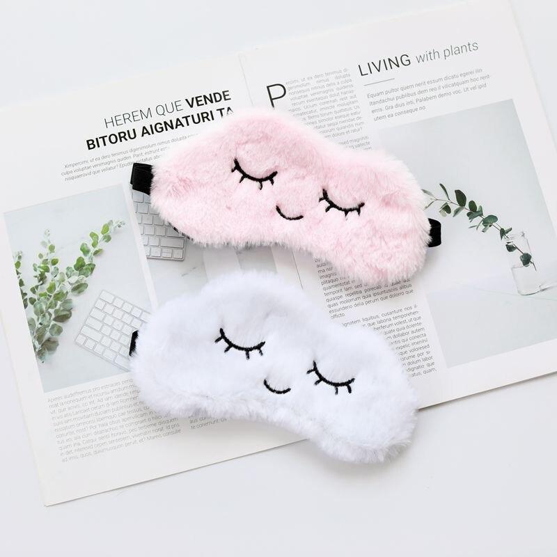 睡眠眼罩睡眠眼罩毛絨眼影罩眼罩放鬆眼罩旅行家庭聚會禮物2019可愛毛絨玩具聖誕節