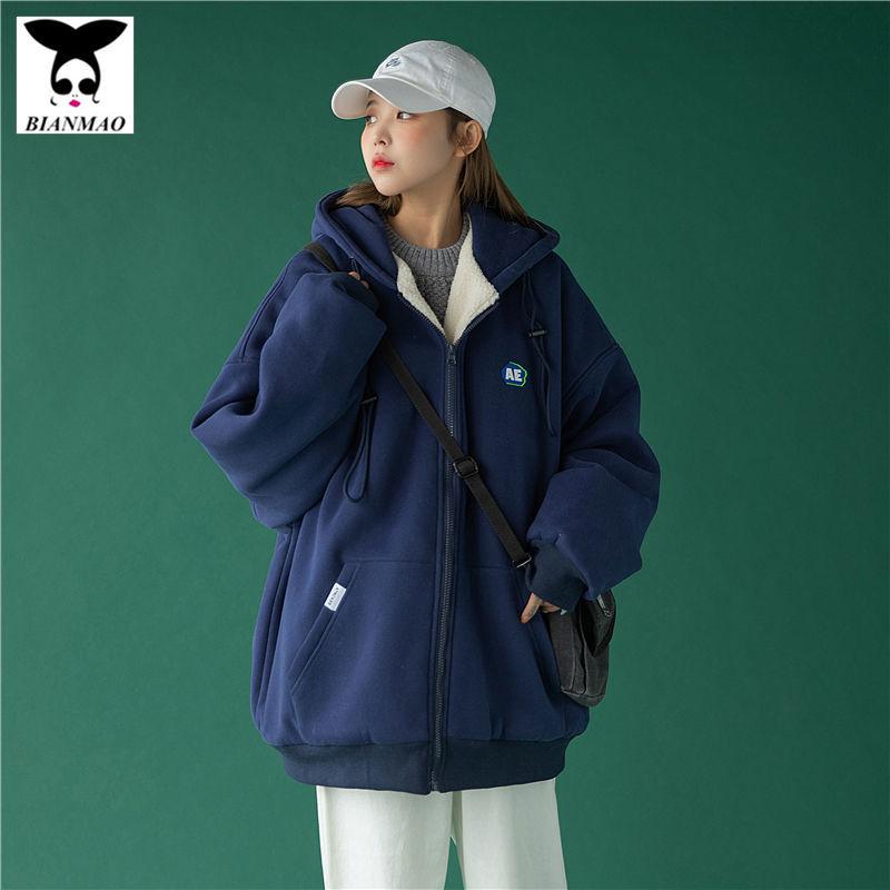 百搭【新款加絨冬季內加厚棉服】羊羔毛休閒衛衣寬鬆2020年15天潮發貨外套女韓版