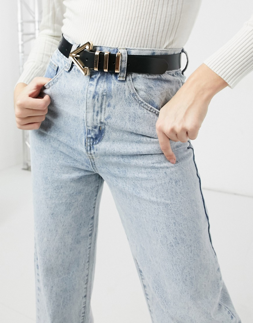 ASOS DESIGN leather waist and hip jeans belt with triangle buckle and metal keepers-Black
