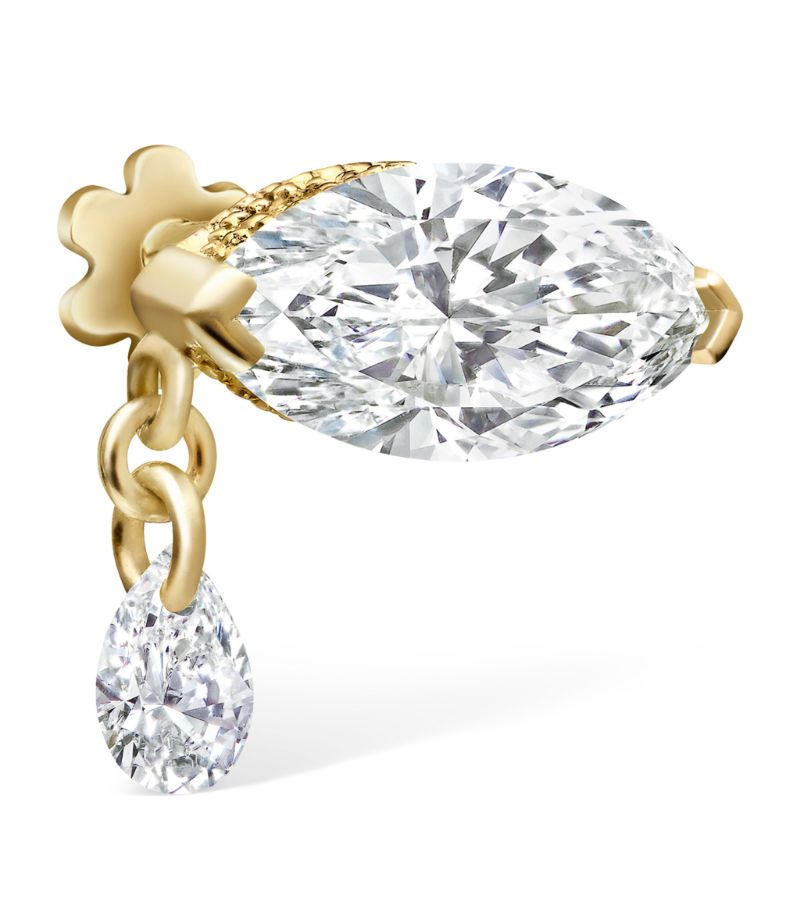 Maria Tash Teardrop Marquise Diamond Threaded Stud Earring (7Mm)
