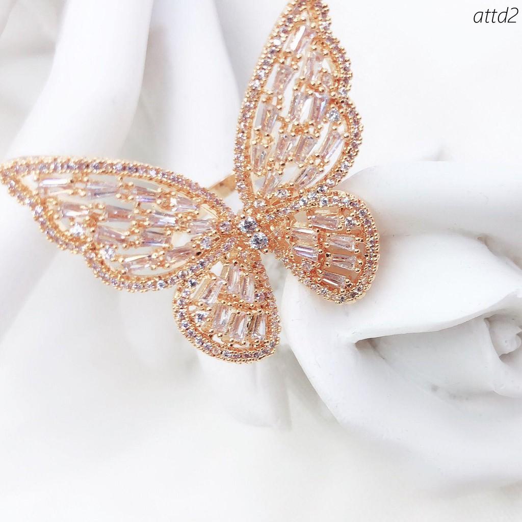 現貨 n歐美時尚微鑲鋯石蝴蝶戒指環女超仙立體夸張食指戒配飾女個性潮人