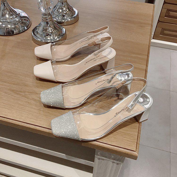 限時特賣凉鞋2020年新款女高跟鞋韩版时尚方头套脚网红ins潮透明百搭粗跟
