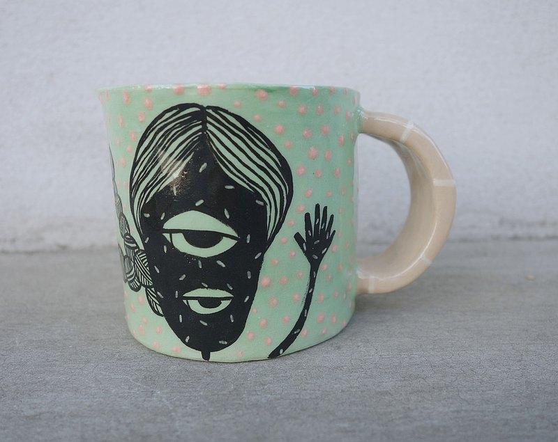 綠色手工陶瓷杯,女人圖案:)
