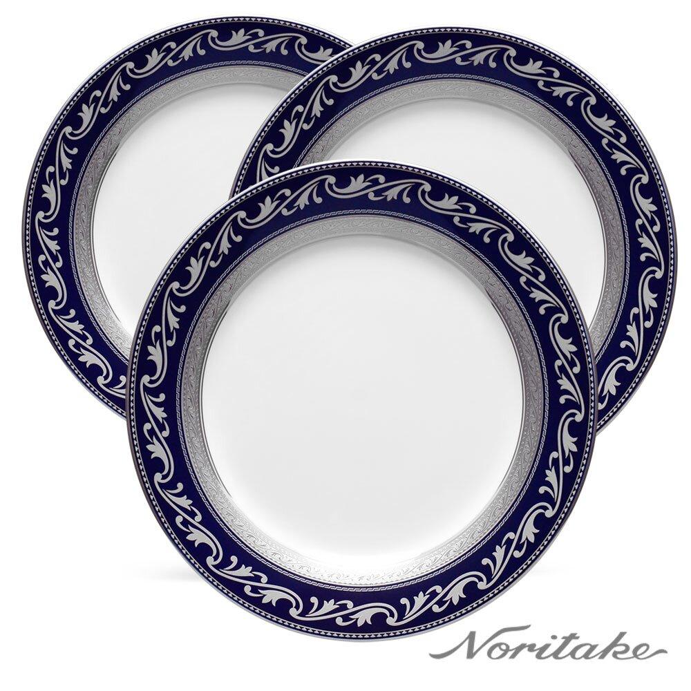 【Noritake】藍色多瑙河銀邊展示盤23.1cm-3件組