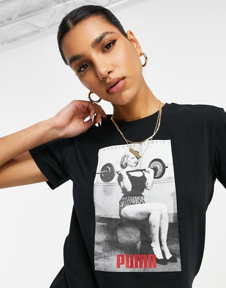 Puma x Charlotte Olympia print t-shirt in black