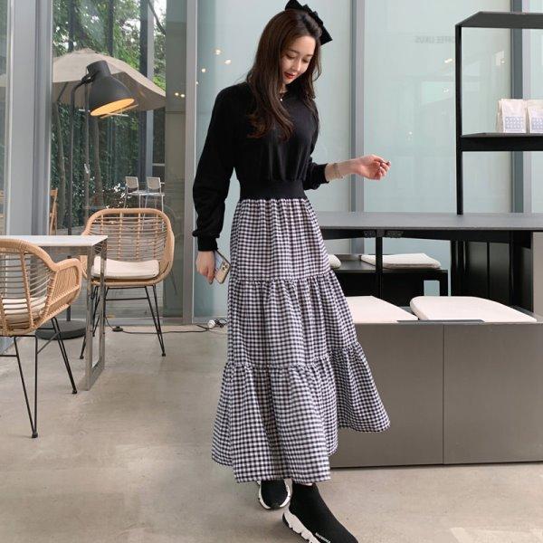 【限量現貨供應】連身裙.韓系甜美格子拼接收腰長袖洋裝.白鳥麗子
