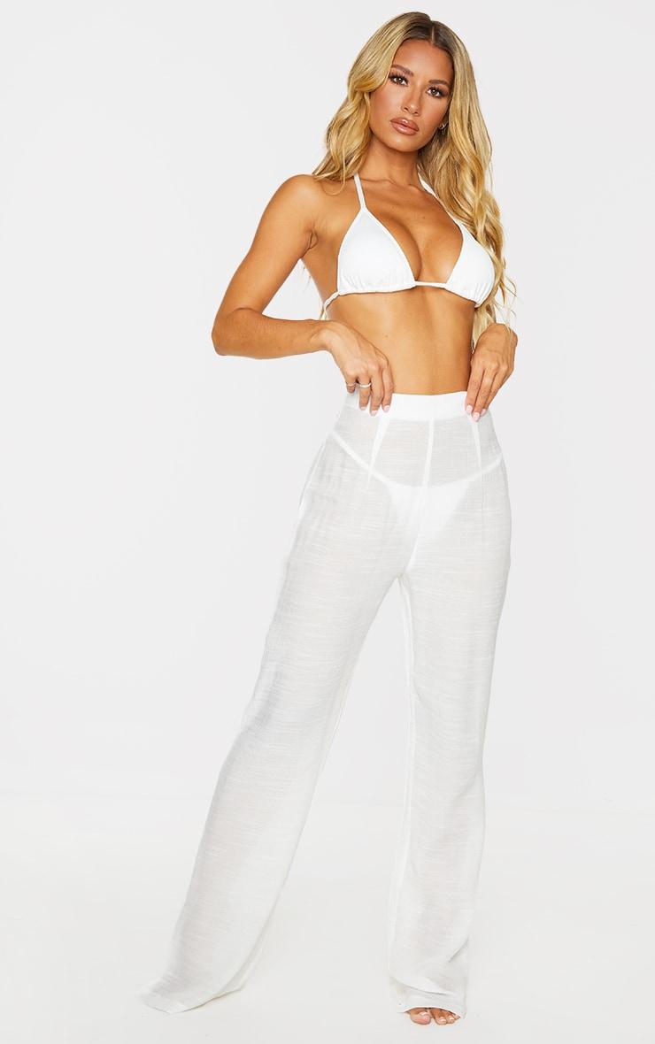 White Wide Leg Linen Look Beach Pants