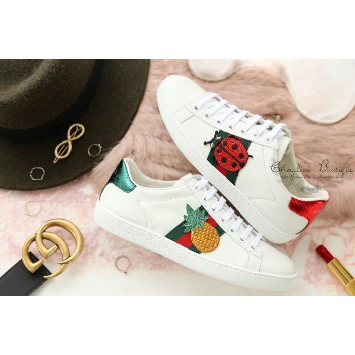 正品免運 Gucci Ace Embroidered Studded Sneaker 鳳梨 瓢蟲 白色 刺繡 小白鞋