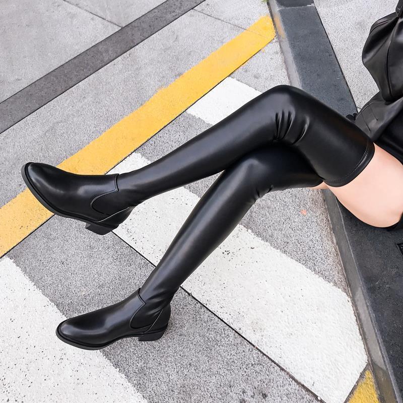 【現貨】【爆款】到大腿根長靴軟皮長筒靴女過膝靴新款秋冬加絨高筒靴平底靴子女靴