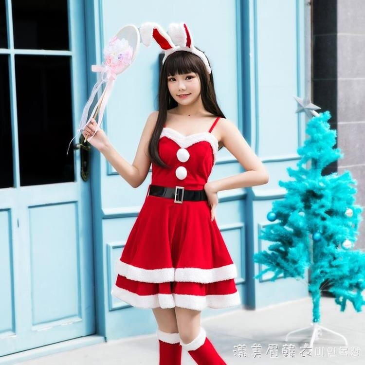 女性感吊帶紅色圣誕萬圣節舞臺裝角色扮演服裝圣誕晚會年會演出服