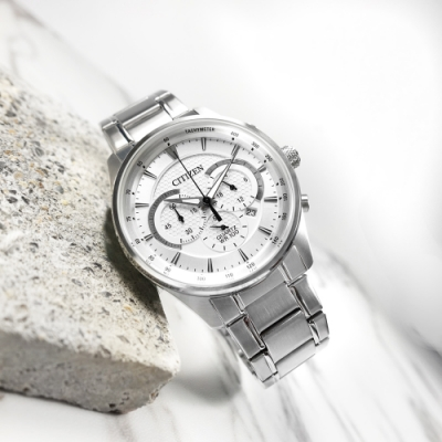 CITIZEN  經典商務 三眼計時 日期 防水100米 不鏽鋼手錶-白色/42mm