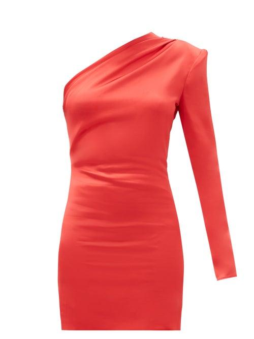 Gauge81 - Charras One-shoulder Satin Mini Dress - Womens - Red