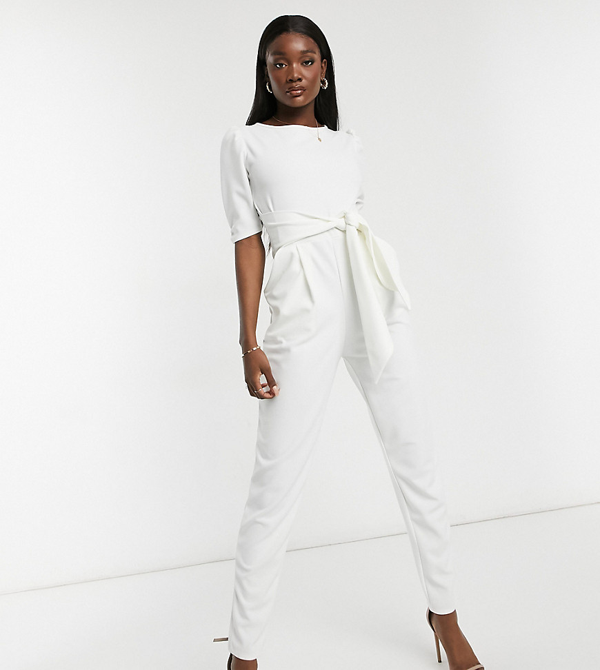 Outrageous Fortune Tall scuba jumpsuit with tie waist in cream-White
