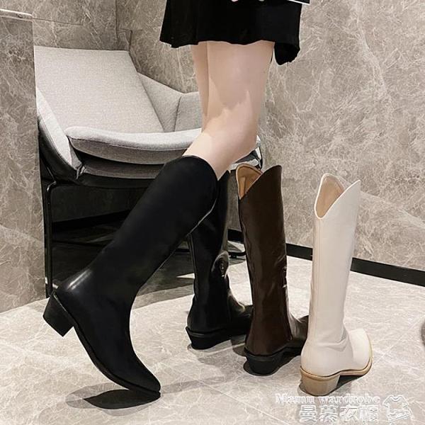 熱賣長靴 靴子2021新款女長筒靴女靴中筒百搭鞋子女秋冬長靴白色高筒騎士靴 曼慕