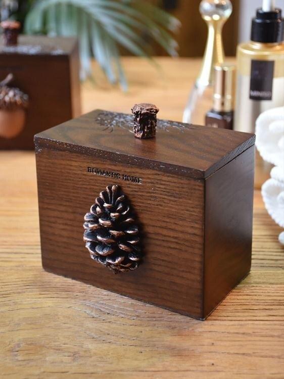 那瀾多好 創意美式復古木質牙簽盒防塵帶蓋分格收納棉簽盒