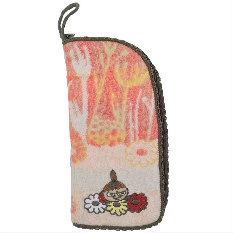 《Moomin》丸真毛巾布萬用包-小不點與花