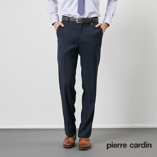 【pierre cardin 皮爾卡登】 男裝彈性直條暗紋平口西裝褲-深藍 (5205843-38)