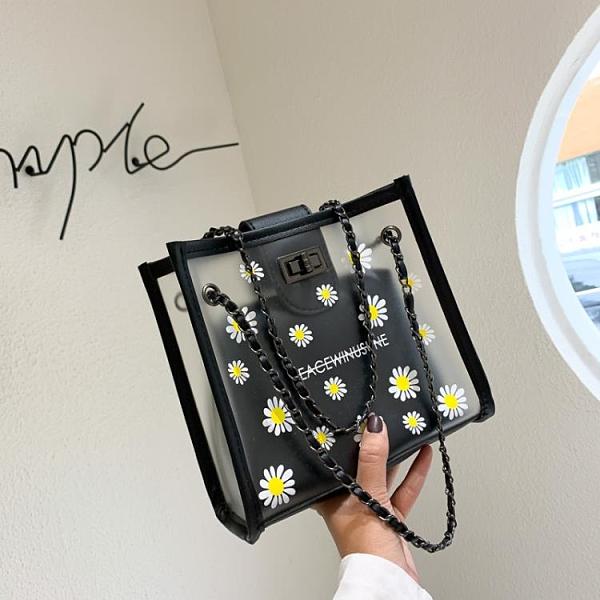 夏季單肩小包包女包2021新款潮韓版百搭大容量透明子母包手提包包 寶貝計畫