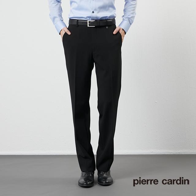 【pierre cardin 皮爾卡登】男裝彈性天絲棉平口西裝褲-黑 (5205845-99)
