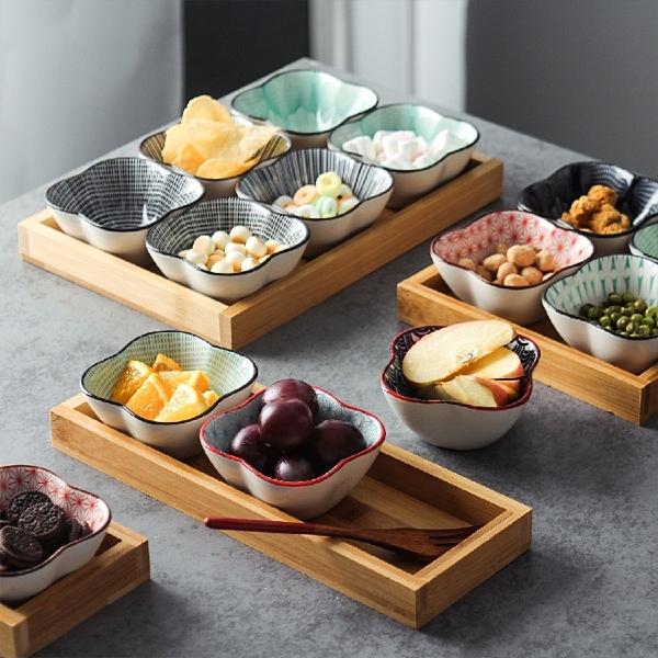 果盤陶瓷零食干果盤日式和風分格盤創意下午茶點心碟餐廳前菜碟醬料碗【免運】