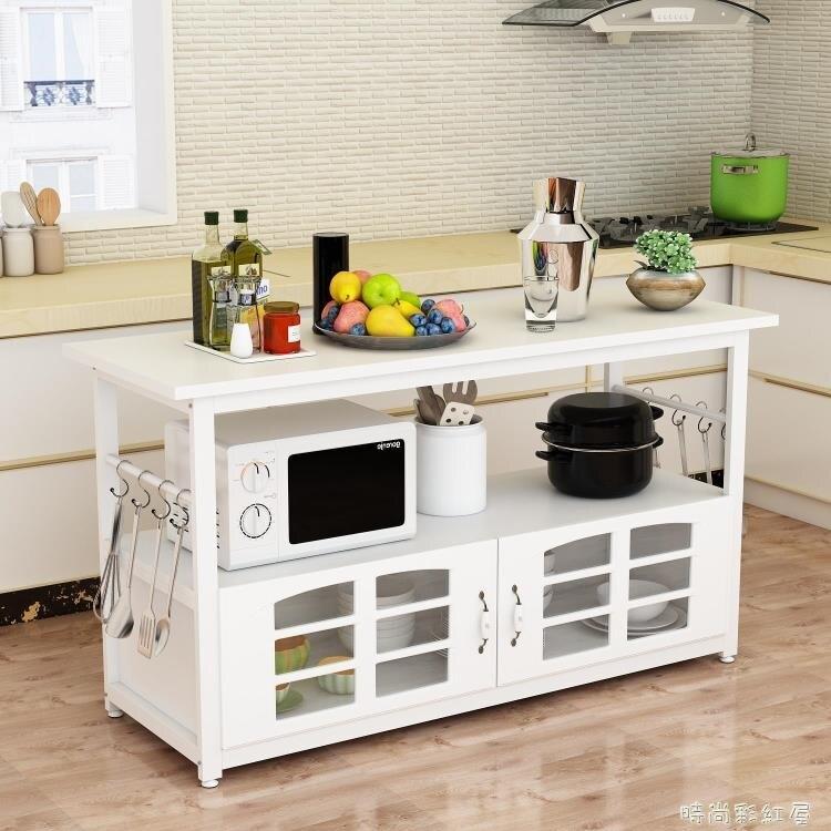 廚房置物架落地多層櫥櫃多功能儲物收納家用操作台微波爐切菜桌子yh