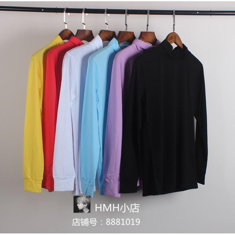 怡然實拍 Bigbang權志龍GD同款 黑色情侶打底衫 男女黃色長袖 高領T恤 潮牌衣服