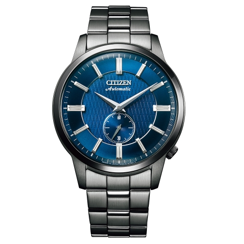 CITIZEN星辰 沉穩質感小秒針機械腕錶/黑鋼藍面NK5009-69N
