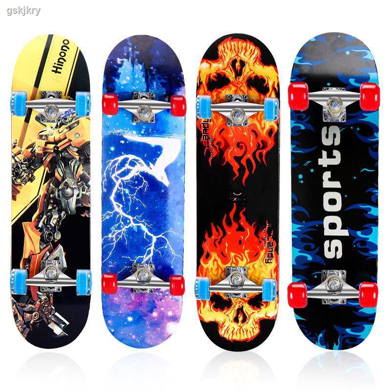 現貨熱銷2-15歲初學者滑板兒童四輪滑板車雙翹板寶寶閃光滑板青少年男女孩
