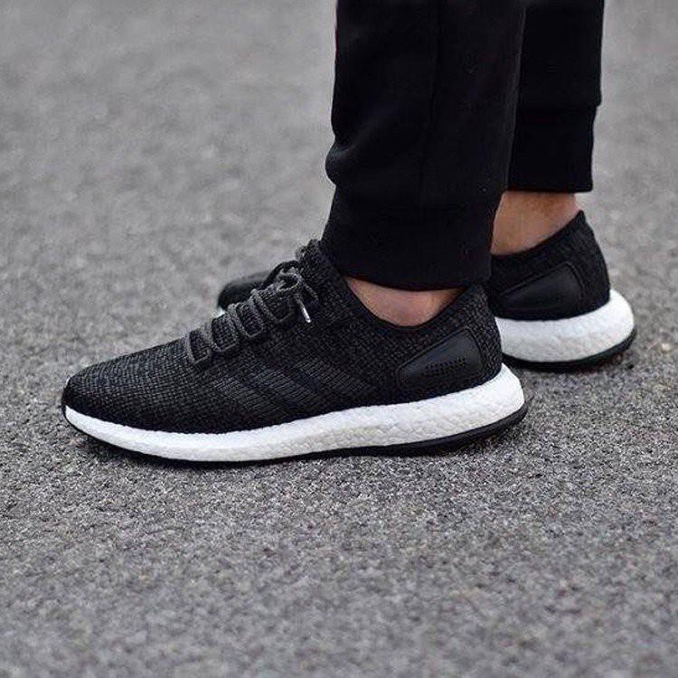 免運 Adidas Pure boost 雪花 編織 S77190 男鞋 黑 輕量 慢跑鞋