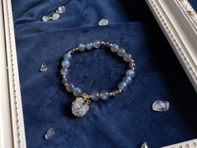 藍光拉長石x月光原石手鍊(14K包金) - 一物一圖 愛情 水晶 助眠