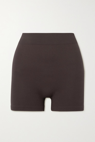 SKIMS - Stretch Rib 短裤(颜色:soot) - 棕色 - XXL/XXXL