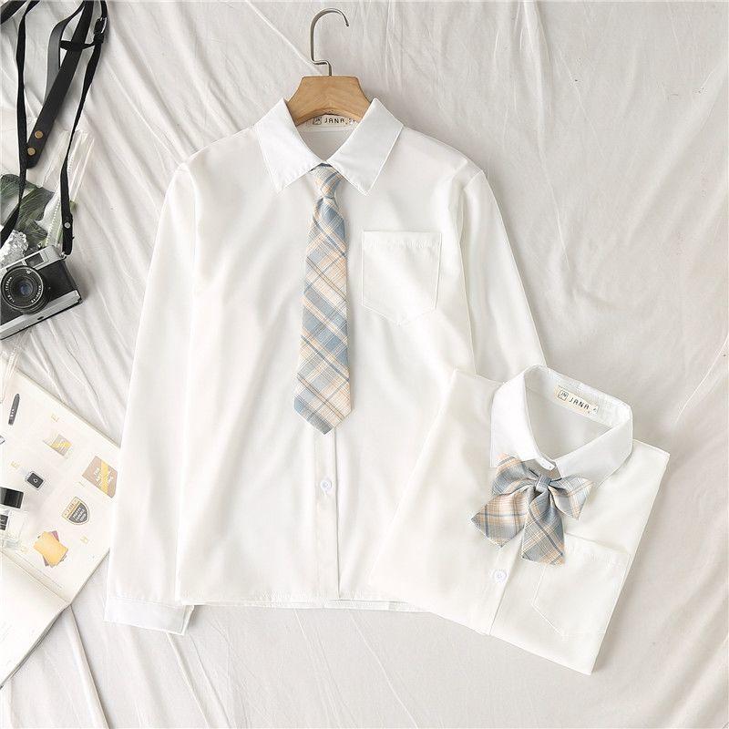 【現貨免運】JK制服襯衫女長袖基礎款2020新款寬鬆學生白色襯衣打底上衣秋冬 喵喵家陽光女裝