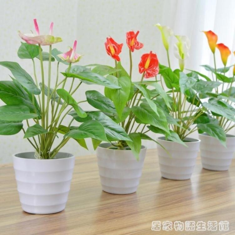 仿真綠植紅掌鴻運當頭假花室內落地盆栽客廳家居裝飾假植物擺設