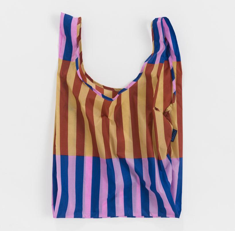 《Baggu》口袋購物袋(M)-條紋拼接