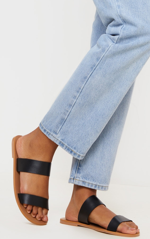 Black Wide Fit Leather Twin Strap Sandal