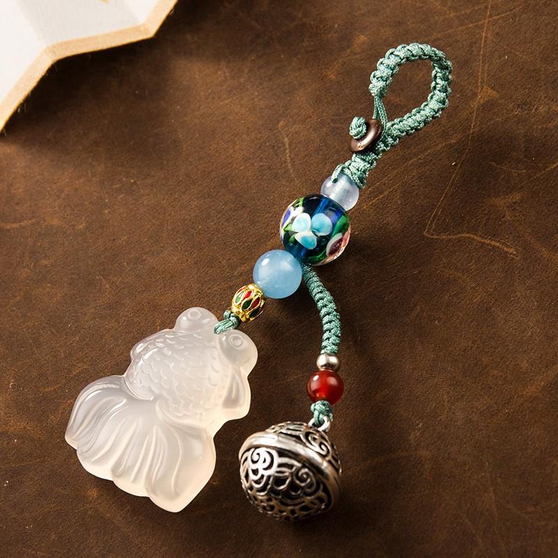 宮鈴玉髓小福魚鑰匙扣掛件手工編織繩汽車鏈鎖匙圈環創意個性掛飾