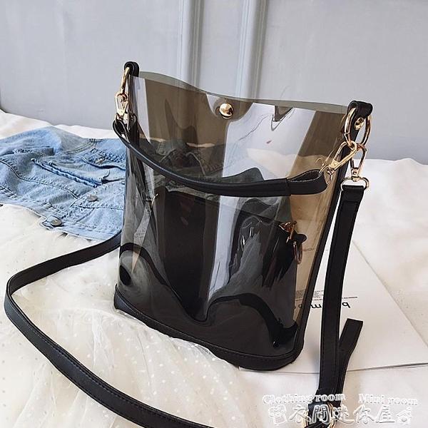 果凍包透明包包女新款潮時尚手提果凍包韓版百搭側背斜背包大容量包 迷你屋
