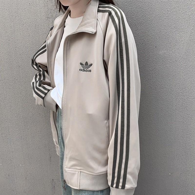 【L】adidas 經典 三葉草 三線 古著 寬鬆 立領 拉鍊 夾克 長袖外套 男女生 情侶款228576