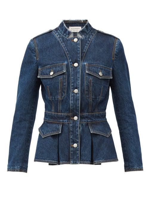 Alexander Mcqueen - Peplum-hem Tailored Denim Jacket - Womens - Blue